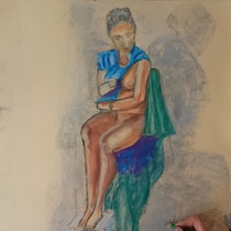 Fusain et pastel sur papier - Cathy Chaumont