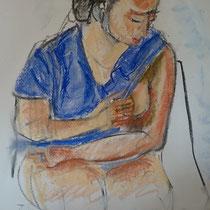 Fusain et pastel sur papier - Agnès de Balasy