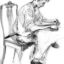 Boris lit- 1992 -  Crayon sur papier