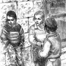 Enfants de Jérusalem  Crayon sur papier