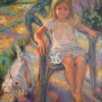 Emma au jardin 73x60cm huile sur toile -  Collection privée