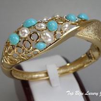 """437. Стильный браслет """"Коралловый риф"""". Ювелирный сплав под золото, декор камнями Сваровски. Очень нарядное украшение. Цена 10$"""