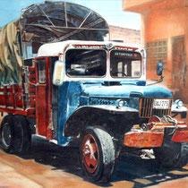 Camión con dos casas / 60 x 43 cms / técnica: pastel y lápiz