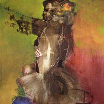 Gacela sorprendida I / 120 x 100 cms/ técnica: mixta sobre lienzo