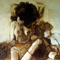 La hinopsis de la Virginias/ 85 x 70 cms / técnica: óleo y brea sobre cartulina / Obra donada al Museo de Arte Erotico de America