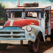 Camión rojo y azul con paisaje / 50 x 35 cms / técnica: óleo sobre tela