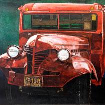 Camión rojo Obra participante por Colombia en la Bienal Internacional de Arte Contemporánea Florencia Italia / 136 x 106 cms / técnica: oleo sobre lino