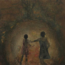 Espitia Galeria / Luis Apolinar / Fragmentos de la serie Reencuentros / Mixta sobre madera / 30 x 30 cms