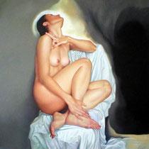 Espitia Galeria / Ignacio Leon Manjarres / La Anunciacion / Oleo sobre tela / 60 x 60cms