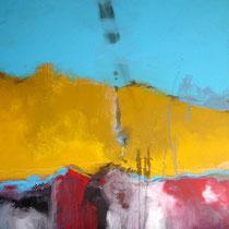 Espitia Galeria / Carlos Hernandez / Paisaje de domingo / Mixta sobre madera / 80 x 80 cms