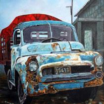 Camión con casa / 80 x 60 cms / técnica: óleo sobre tela