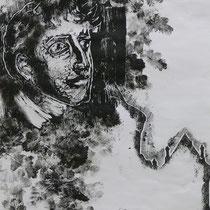 Le regard du poète (F.R. de Chateaubriand) (monotype et collagraphe - Combourg 2013)
