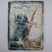 L'envol (sélection Solidor en peinture 2011) linogravure 15 x 21 cm