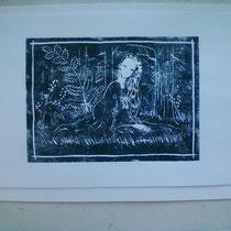La fée des bois (Huelgoat 2012) linogravure 15 x 21 cm
