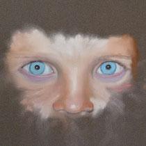 Entstehung eines Porträts, Pastell auf Pastelcard