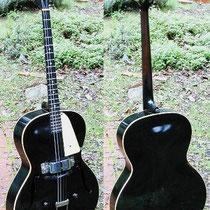 """Hier de """"bass"""" uitvoering van de gitaar van Bruce,een Vega Archtop Electric Tenor Guitar uit 1939"""