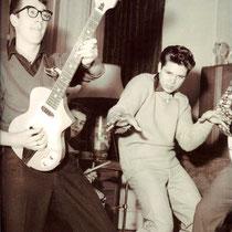 """Voordat de Fender Stratocaster Fiësta red hun handelsmerk werd,speelden Hank, Bruce en Jet op verschillende andere merken gitaren,zoals Hank hier op een Japanse """"Guyatone LG 50"""",ook wel onder de naam """"Antoria"""" op de markt gebracht"""