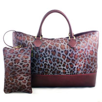 B FLO Shopping XL animal print bordeaux