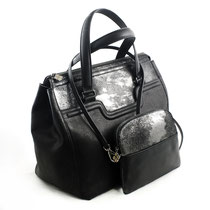 B FLO Citybag & Pochette black metallic