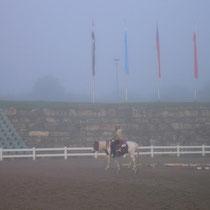 Abreitplatz im Nebel