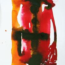 """Monolito I"", tinta sobre papel, 42 x 30 cm"