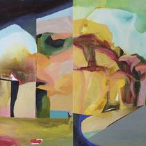 """""""Puzzle"""", díptico, óleo y acrílico sobre lienzo, 97 x 146 cm"""