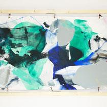 Sin título, 2016. Técnica mixta sobre tela, 101 x 226,5 cm