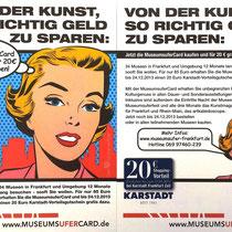 """Kooperation """"Von der Kunst, so richtig Geld zu sparen"""" MuseumsuferCard Frankfurt mit Karstadt"""