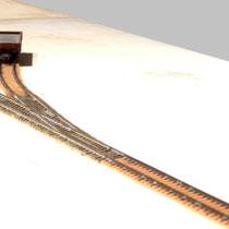 Modul 1 mit Kopframpengleis und Weiche zu Gleis 2 (links im Bild)