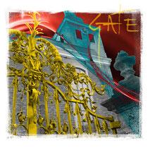 THE GATE, 40 x 40 cm, Print auf Leinwand und Acrylfarbe, 140,- €