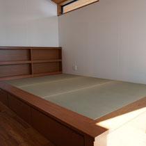 収納つきベッド 畳敷 本棚 畳ベッド