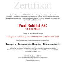 QS-Dokument ISO 9001 Qualität // ISO 14001 Umwelt Baldini