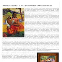 """""""Nafea Faa Ipoipo il Record Mondiale Firmato Gauguin"""" a cura della Dott.ssa Tamara Follesa"""