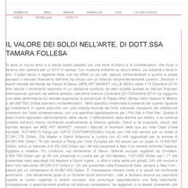 """""""Il valore dei soldi nell'Arte"""" a cura della Dott.ssa Tamara Follesa"""