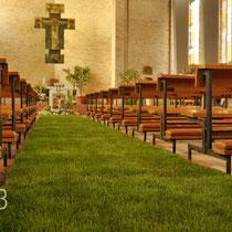 DA3studio DAtelier Allestimenti Venezia Pasqua chiesa prato in rotoli