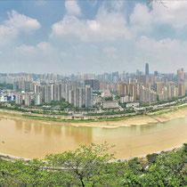 Chongqing von oben mit dem Jangtsekiang