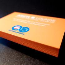 Visitenkarte mit Softtouchfolie und Farbschnitt orange
