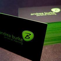 Visitenkarten mit Relieflack mit Farbschnitt