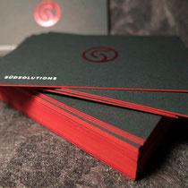 Visitenkarte 2lagig mit roter Heißfolie und Farbschnitt