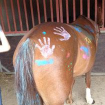 Merrie wurde verschönert. Unsere Ponys sind auf Kindergeburtstagen sehr beliebt.