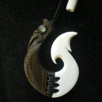 #51 Manaia Hook/ Lignum Vitae, Cow Bone & Paua/ Sold