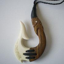 Lignum Vitae & Cow Bone/ Sold