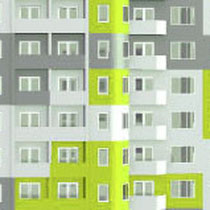 Фрагмент фасада: принцип распределения цветовых пятен по модульным элементам фасада