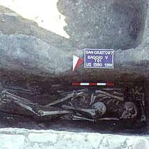 Due scheletri rinvenuti in una tomba a fossa della chiesa B [dal sito web dell'area di archeologia del Dipartimento di Scienze Umane dell'Università di Foggia; www.archeologia.unifg.it]