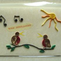 Cartolina uccelli quilling CB01