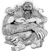 "Sasquatch Ink Drawing for International Gallery Pictoplasma in Paris, France. ""Sasquatch"" 14x17"""