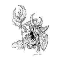 "Inktober drawing, 2017. ""Tigrelhan, The Watcher Between Worlds"" 9x12"""