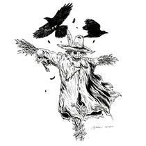 "Inktober drawing, 2017. ""Scarecrow"" 9x12"""