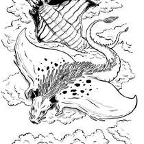 "Inktober drawing, 2017. ""Draco-rays"" 9x12"" $200"