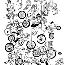 """Mustache Riders Design Final Ink Work for DSF Clothing Co. 14x17"""""""